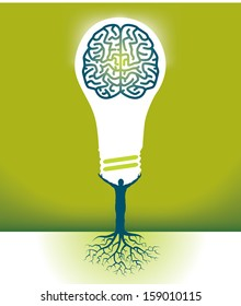 Abstract Vector Man-Brain-Bulb Background for Print or Web