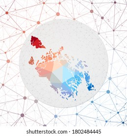 Abstract vector map of Cat Ba Island. Technology in the island geometric style poster. Polygonal Cat Ba map on 3d triangular mesh backgound. EPS10 Vector.
