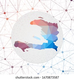 Abstract vector map of Haiti. Technology in the country geometric style poster. Polygonal Haiti map on 3d triangular mesh backgound. EPS10 Vector.