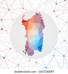Abstract vector map of Sardinia. Technology in the island geometric style poster. Polygonal Sardinia map on 3d triangular mesh backgound. EPS10 Vector.