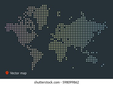 Abstract vector map of the world from dot forms with placemark for filling out infographic, business templates, covers, web sites, interfaces, business cards, catalogs, brochures, annual reports.