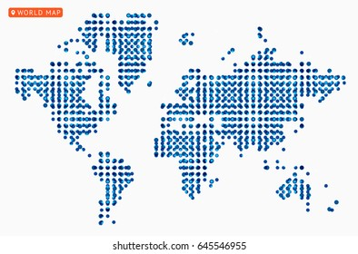 Abstract vector map of the world from dot forms with placemarks for filling out infographics, business templates, covers, web sites, interfaces, business cards, catalogs, brochures, annual reports.