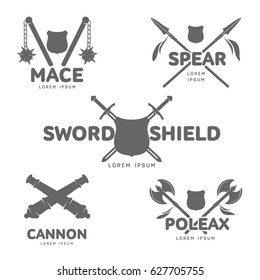 Abstract vector medieval guns label and logo template. War symbol. Silhouettes of mace, spear, cannon, poleax and sword. Template for business card, banner. Isolated on white background.