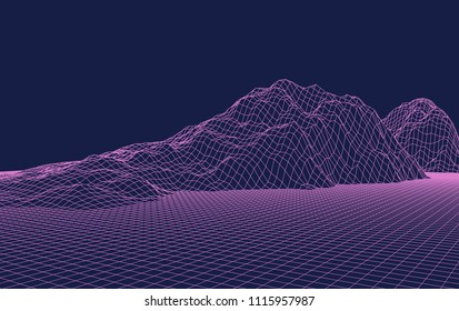 Abstract vector mesh landscape. Cyberspace grid