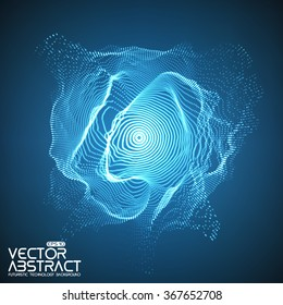 Abstract vector mesh on blue background. Futuristic style card. Elegant background for business presentations.  Corrupted point sphere.  Chaos aesthetics.