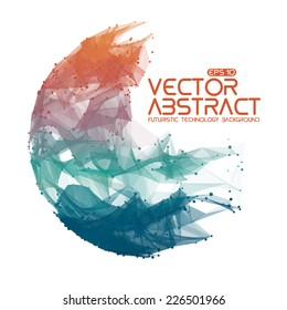 Abstract vector mesh sphere background. Futuristic technology style. Elegant background for business presentations. Destroyed sphere. eps10