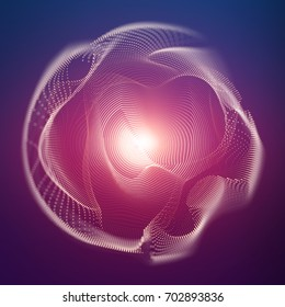 Abstract vector mesh sphere on dark background with depth of field effect. Futuristic style card. Elegant background for business presentations. Corrupted point sphere with bokeh. Chaos aesthetics.