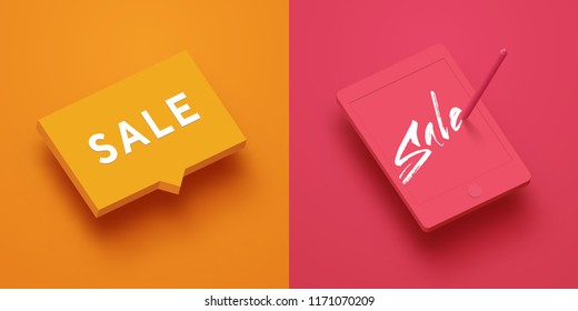 Abstract vector mock up template with bubble and tablet. Isometric layout with words SALE inside objects. Realistic 3d style with shadows, clay render.