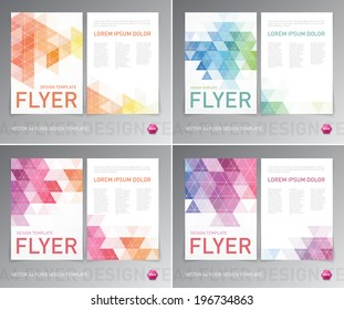 Abstract vector modern flyer / brochure design templates collection with colorful geometric triangular backgrounds.