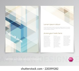 Abstract vector modern flyer / brochure design template with colorful geometric hi-tech background.