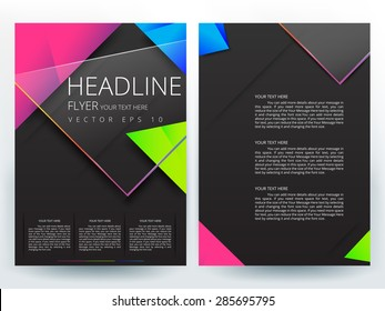 Abstract vector modern flyer brochure / annual report /design templates / stationery with black  background in size a4