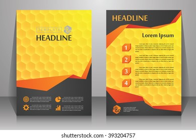 Abstract vector modern flyers brochure, booklet, annual report, design templates with yellow - orange background in size a4.