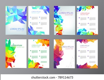 Abstract vector modern flyers / brochures set design templates with colorful geometric triangular background