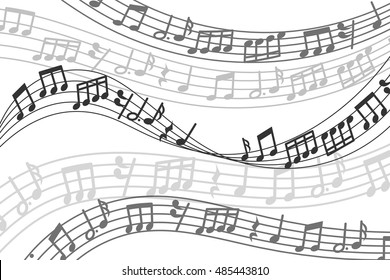 Abstract vector musical background with music notes and sound wave. Musical melody with treble clef illustration