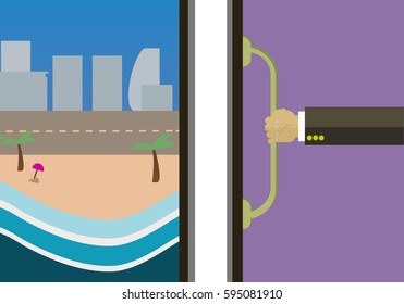 abstract vector next vacation time concept with businessman open the door