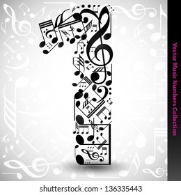 Abstract vector number one made from music notes - numbers set