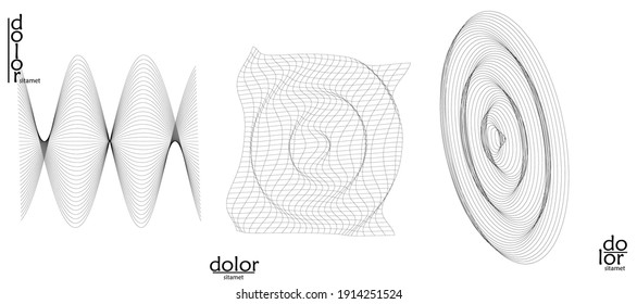 Abstract vector object set. Molecular grid texture of geometric wire frame shape. Technology computer science design element. 3D digital modeling. Optical art background.