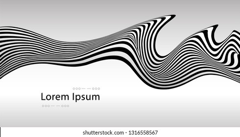Abstract vector optical art illustration of black and white wave stripes isolated on background.