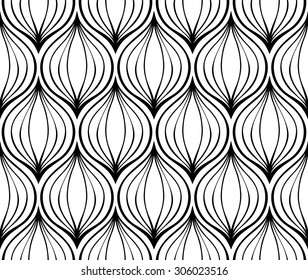 Abstract vector ornament. Seamless simple pattern of black elements on a white background. Stylized onions.