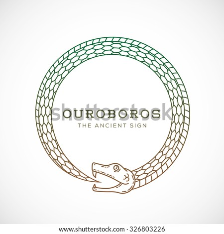 abstract vector ouroboros snake symbol sign のベクター画像素材