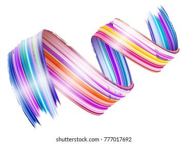 Abstract Vector Paint Brush Stroke. Colorful Curl of Liquid Paint. Digital 3D Wave with Brush Texture. Creative Element for Flyer, Presentation, Advertising, Greeting Card, Poster. Isolated on White.