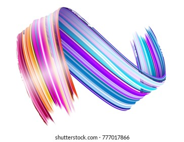 Abstract Vector Paint Brush Stroke. Colorful Curl of Liquid Paint. Digital 3D Ribbon with Brush Texture. Abstract Ink Background. Creative Spiral Wave with Pink, Blue, Red Colors. Isolated on White.