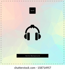 Abstract vector pastel chalk polygonal background. With headphones.