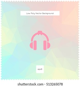 Abstract vector pastel chalk polygonal background. With headphones. The vector illustration for ui, web games, tablets, wallpapers, and patterns.