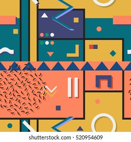 Abstract vector pattern with geometric shapes. Retro memphis style, fashion 80-90s.