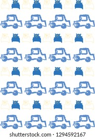Abstract vector pattern with hand drawn toy cars and teddy bears in blue and yellow.