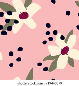 Abstract vector pattern with hand drawn Flowers and dots. Floral seamless texture.