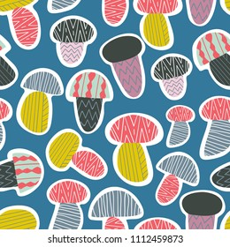 Abstract vector pattern with mushrooms. Seamless illustration. Great for fabric, textile, wrapping, wallpaper, print.