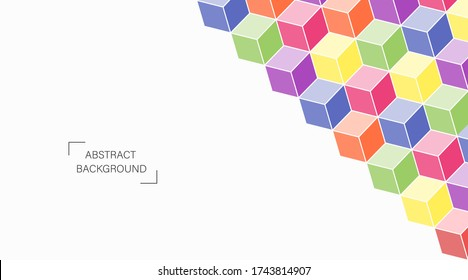 Abstract vector perspective isometric colorful box pattern on white background.
