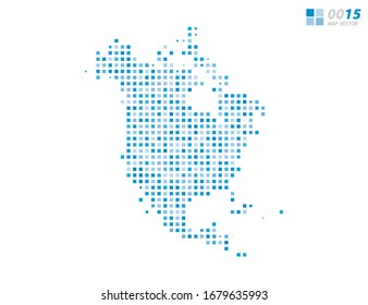 Abstract vector pixel blue of North America map. Halftone organized in layers for easy editing.