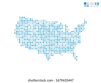 Abstract vector pixel blue of United States of America (USA) map. Halftone organized in layers for easy editing.