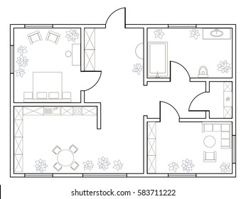 Abstract vector plan of one-bedroom apartment, with kitchen, bathroom, laundry room, bedroom, living room, dining room