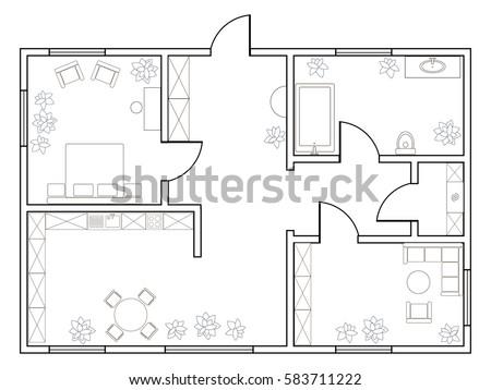 Abstract Vector Plan Onebedroom Apartment Kitchen Stock Vector