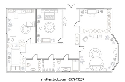 Abstract vector plan of three-bedroom apartment, with kitchen, bathroom, children's room, bedroom, living room, dining room, library. EPS8