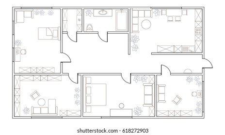 Abstract vector plan of two-bedroom apartment, with kitchen, bathroom, children's room, bedroom, living room, dining room, library