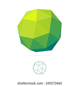 Abstract Vector polygon logo.  low poly sphere. Concept Icon