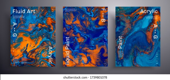 Abstract vector poster, texture set of fluid art covers. Trendy background that can be used for design cover, presentation and etc. Blue, orange and golden universal trendy painting backdrop