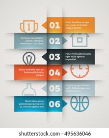 Abstract vector presentation template with a bulleted list. Clean infographics design with ribbons as placeholders for your content and copyspaces for icons, numbers and text samples.