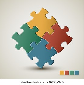 Abstract vector puzzle / solution background with retro colors