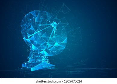 abstract vector. Radio antenna. astronomy and space research