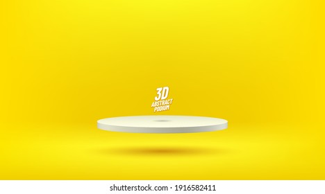 Abstract vector rendering 3d shape for advertising products display with copy space. Modern floating white round podium with yellow empty room background. Minimal studio room concept. Vector EPS10