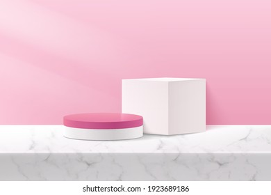 Abstract vector rendering 3d shape for advertising product display with copy space. Modern white and pink geometric podium with pastel empty room and marble pattern background. Studio room concept.