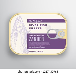 Abstract Vector River Fish Fillets Aluminium Container with Label Cover. Premium Canned Packaging Design. Retro Typography and Hand Drawn Zander or Pikeperch Silhouette Background Layout. Isolated.