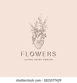 Abstract Vector Romantic Sign, Symbol or Logo Template. Anatomical Heart Sketch Illustration with Flowers Branches and Classy Typography. Premium Quality Holiday Decoration Card. Isolated.