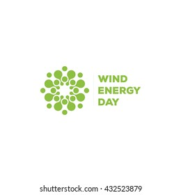 Abstract vector round logo. Wind energy unusual sign. Green logotype. Earth hour.