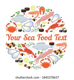 abstract vector sea food label template
